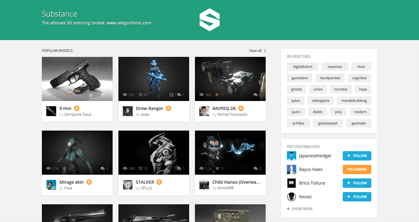 Sketchfab custom tag page for Substance Painter