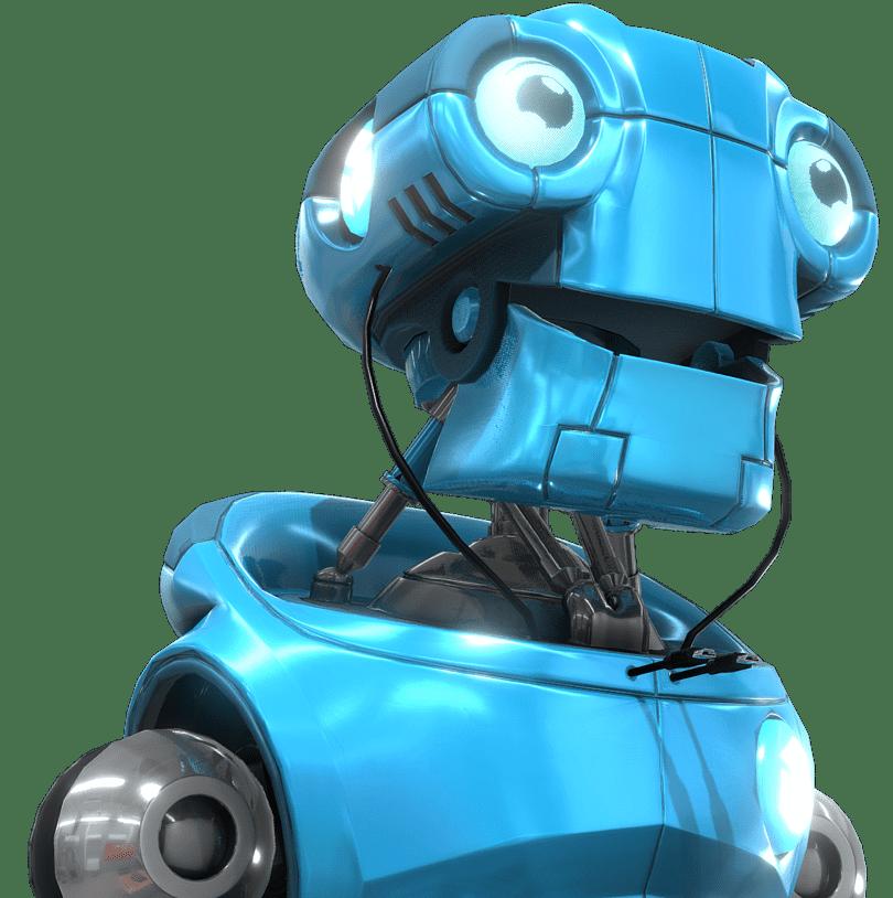 Blue happy robot model