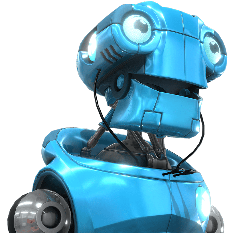 Blue happy robot model